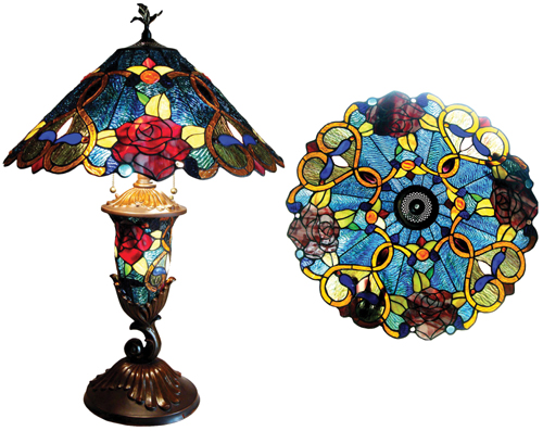 antique look roses tiffany style table lamp. Black Bedroom Furniture Sets. Home Design Ideas